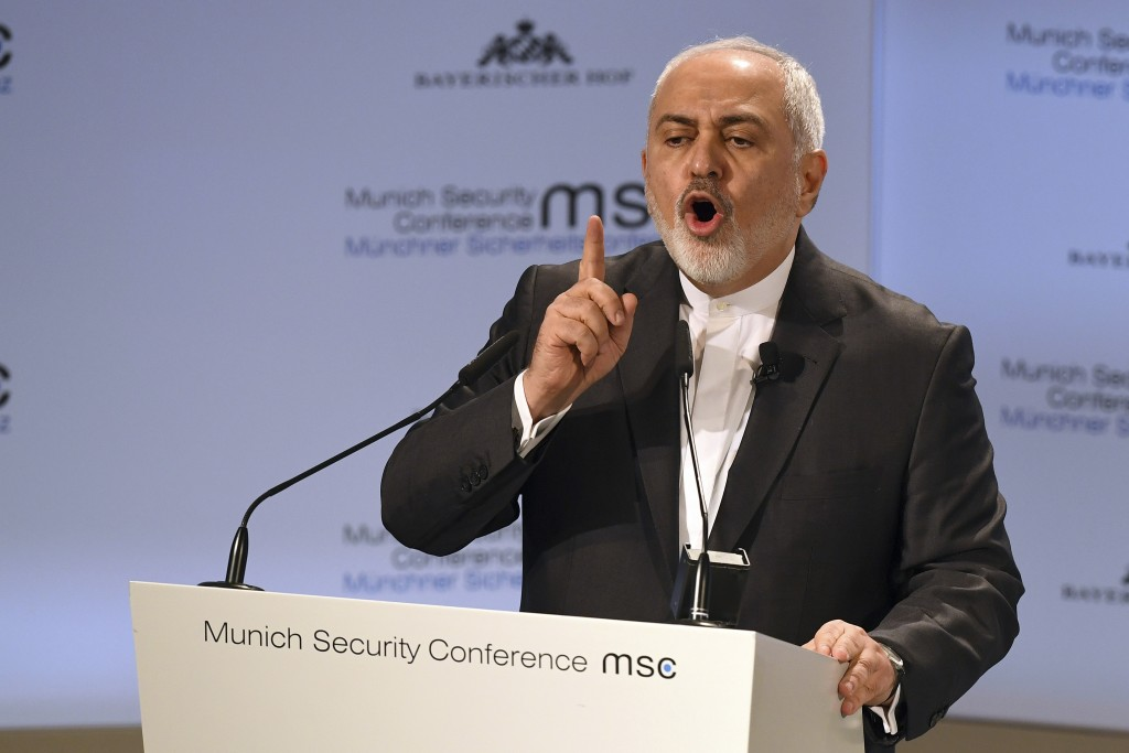 Iranian Foreign Minister Mohammad Javad Zarif speaks during the Munich Security Conference in Munich, Germany, Sunday, Feb. 17, 2019. (AP Photo/Kersti...