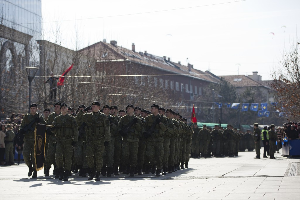 Kosovo Security Force members march during celebrations to mark the 11th anniversary of independence, in Pristina, Sunday, Feb. 17, 2019. Thousands of...