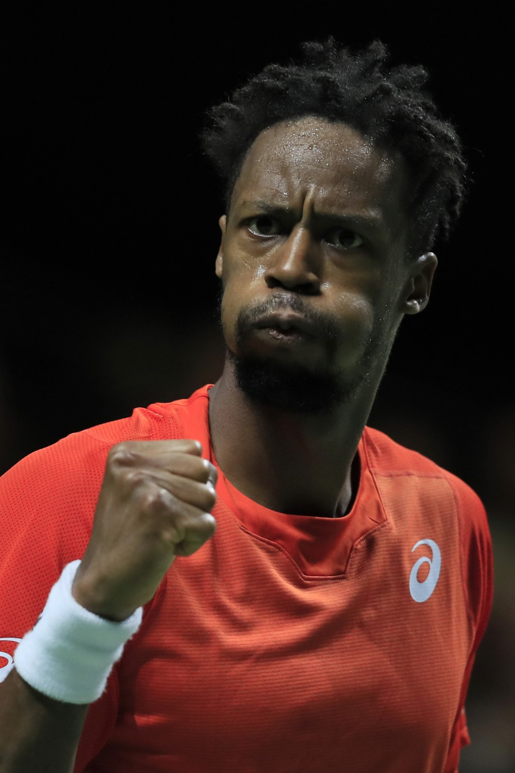 Gael Monfils of France clenches his fist after scoring a point against Stan Wawrinka of Switzerland in the men's singles final of the ABN AMRO world t...