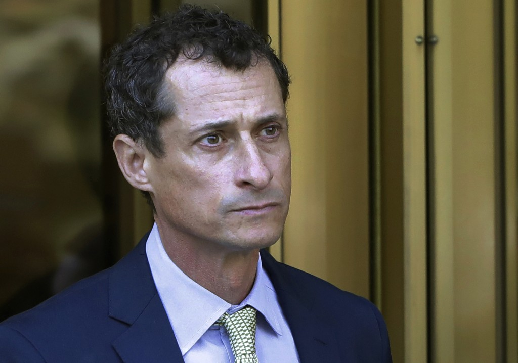 FILE - In this Sept. 25, 2017 file photo, former Congressman Anthony Weiner leaves federal court following his sentencing in New York. Weiner has been...