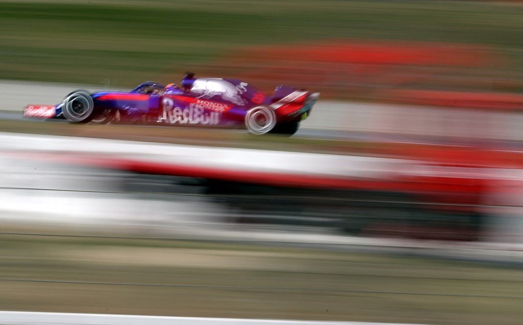 Toro Rosso driver Alexander Albon of Thailand steers his car during a Formula One pre-season testing session at the Barcelona Catalunya racetrack in M...