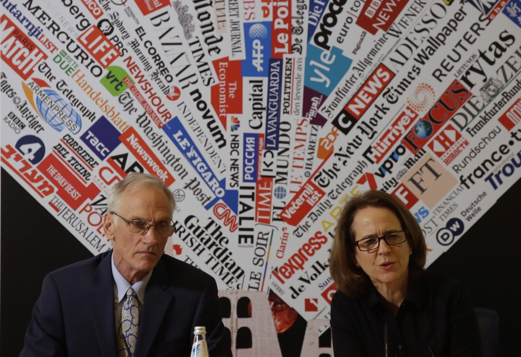 BishopAccountability.org group director Phil Saviano, left, and co-director Anne Barrett Doyle, attend a press conference at the foreign press associa
