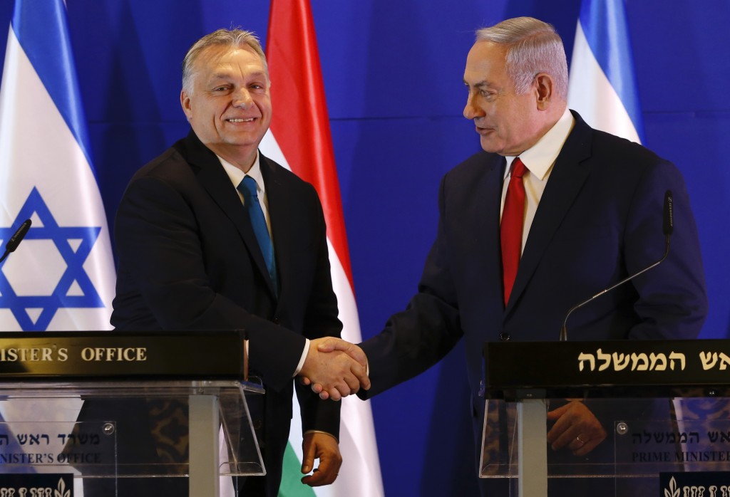 Hungarian Prime Minister Viktor Orban, left, and Israeli Prime Minister Benjamin Netanyahu attend a press conference after their meeting in Jerusalem,