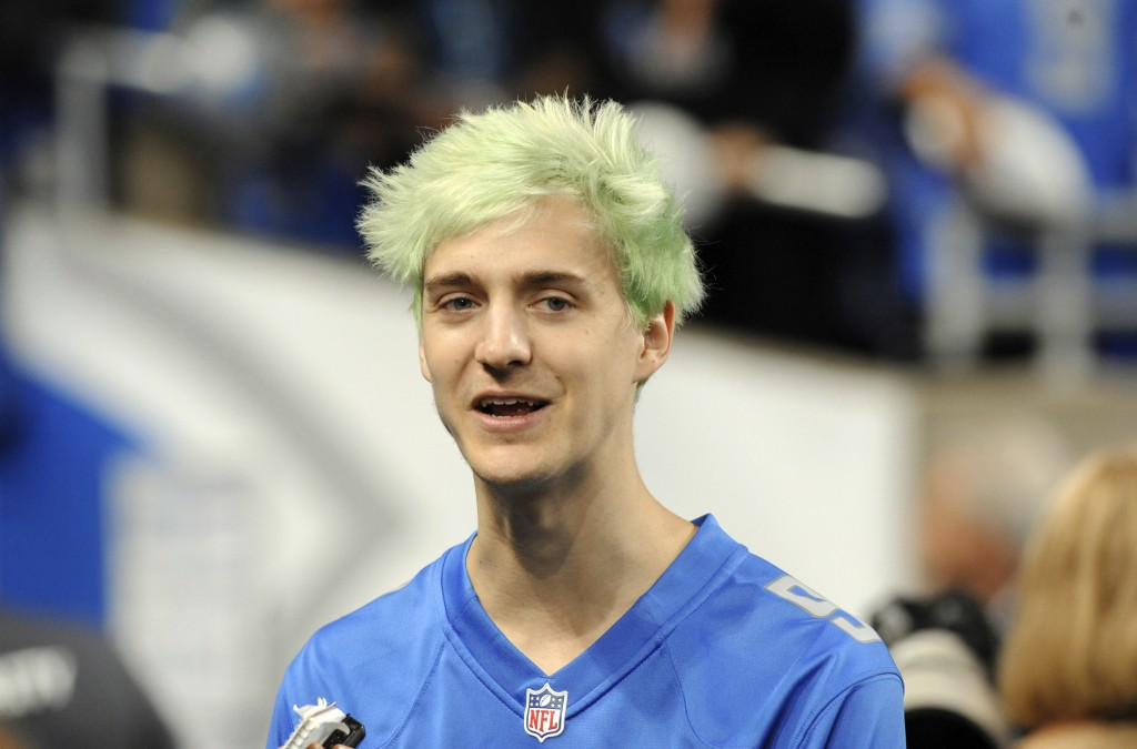 """File-This Sept. 10, 2018, file photo shows Tyler """"Ninja"""" Blevins before an NFL football game between the Detroit Lions and New York Jets in Detroit. F"""