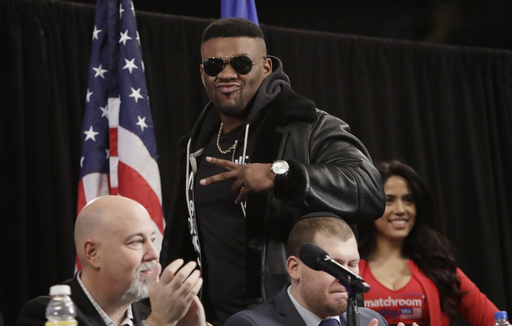 Boxer Jarrell Miller arrives for a news conference Tuesday, Feb. 19, 2019, in New York, to promote his upcoming fight against British boxer Anthony Jo...