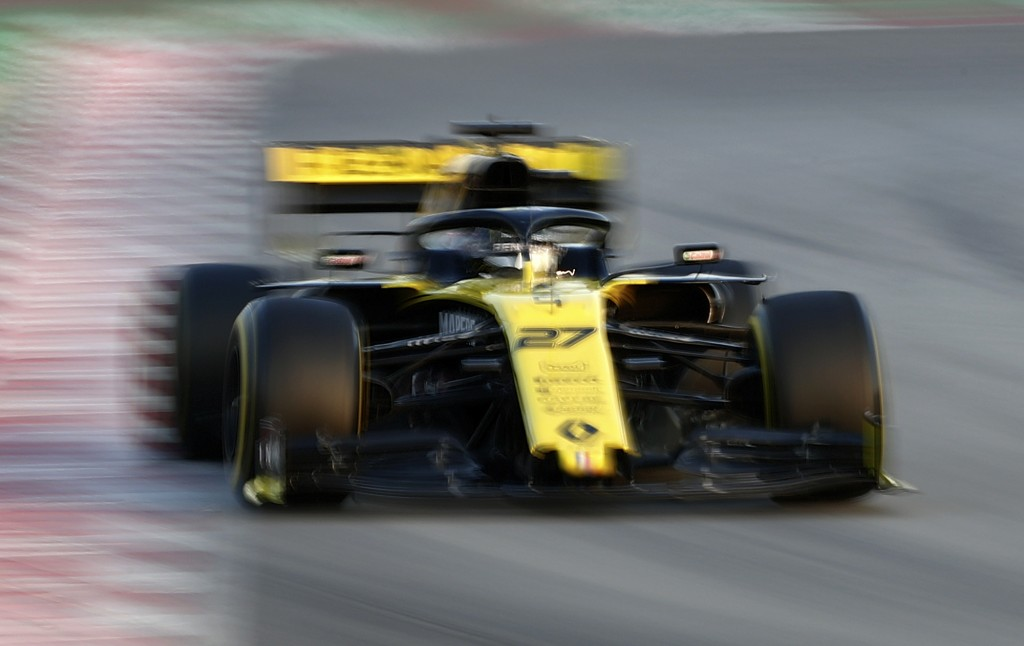 Renault driver Nico Hulkenberg of Germany steers his car during a Formula One pre-season testing session at the Barcelona Catalunya racetrack in Montm...