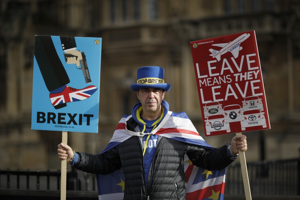 Remain in the European Union supporter Steve Bray, aged 49 from Port Talbot in Wales and who has been protesting for 18-months outside the Houses of P...