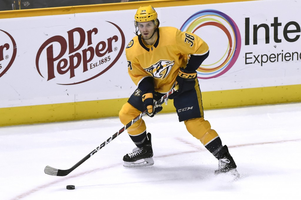 FILE - In this Jan. 19., 2019, file photo, Nashville Predators right wing Ryan Hartman plays against the Florida Panthers during the third period of a...