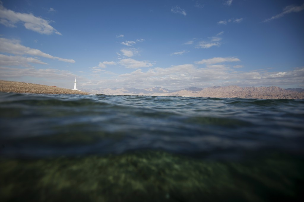 This Monday, Feb. 11, 2019 photo, shows a diver's view of the Red Sea with a marine observatory in the distance, in the Red Sea city of Eilat, souther...