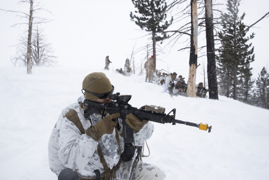 U.S. Marines take their positions during advanced cold-weather training at the Marine Corps Mountain Warfare Training Center Sunday, Feb. 10, 2019, in...