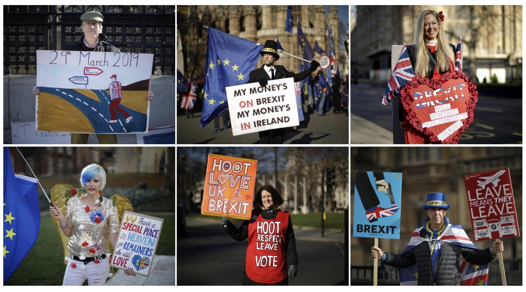 A six-photo combo of Brexit images of three Leave the European Union supporters, and three Remain in the European Union supporters, posing for photogr