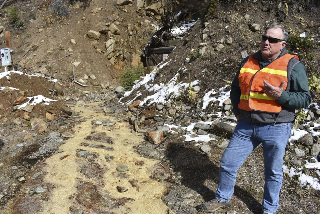 In this Oct. 12, 2018 photo, Tillman McAdams with the U.S. Environmental Protection Agency speaks about cleanup work at the Susie mine in Rimini, Mont