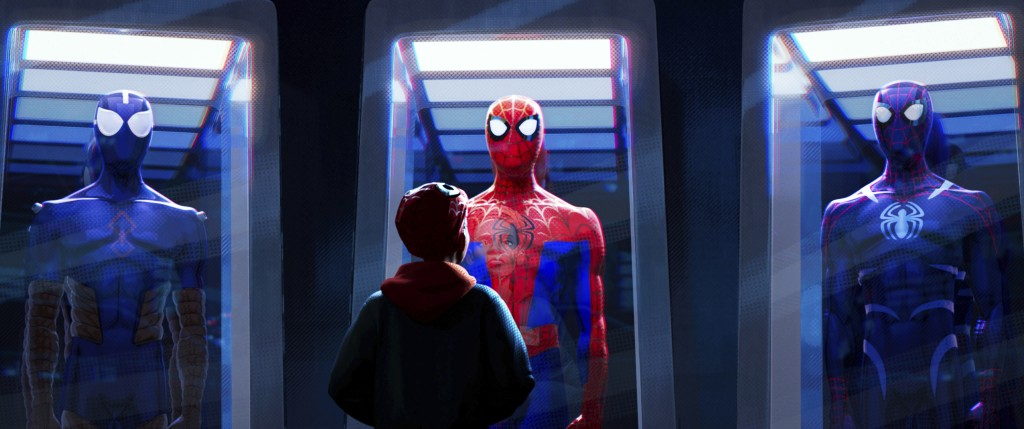 "This image released by Sony Pictures Animations shows a scene from ""Spider-Man: Into the Spider-Verse."" The film was nominated for an Oscar for best a..."
