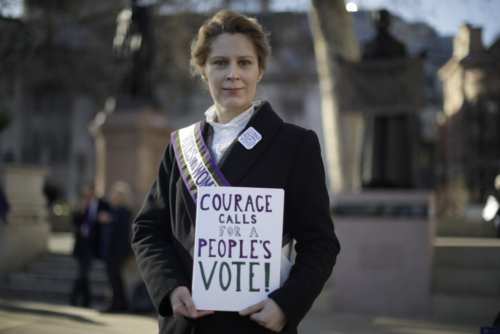 Remain in the European Union supporter Kate Willoughby, from Yorkshire and dressed as early 20th century suffragette Emily Davison, poses for photogra...