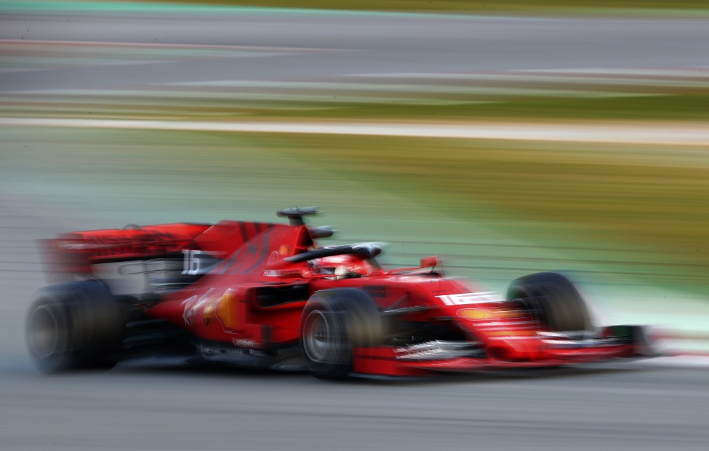 Ferrari driver Charles Leclerq of Monaco steers his car during a Formula One pre-season testing session at the Barcelona Catalunya racetrack in Montme