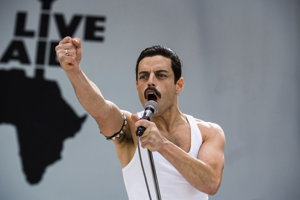 """This image released by Twentieth Century Fox shows Rami Malek in a scene from """"Bohemian Rhapsody."""" Malek is nominated for an Oscar for best actor for ..."""