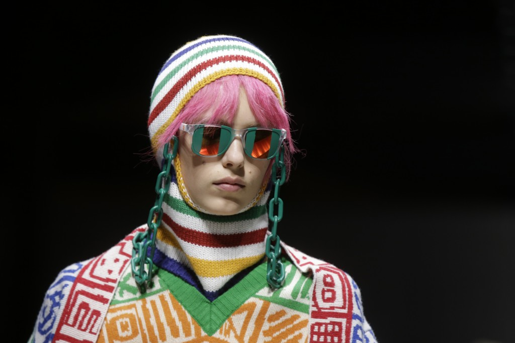 A model wears a creation part of the Benetton women's Fall-Winter 2019-2020 collection, that was presented in Milan, Italy, Tuesday, Feb.19, 2019. (AP