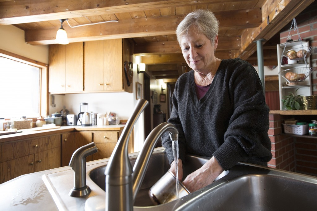 "Catherine Maynard, a natural resource analyst for the U.S. Department of Agriculture, washes dishes in her home in Rimini, Mont., on Feb. 18, 2019. ""T"