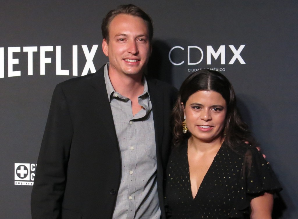 FILE - In this Nov. 21, 2018 file photo, Roma film producers Nicolas Celis, of Mexico, and Gabriela Rodriguez, of Venezuela, pose on the red carpet, i