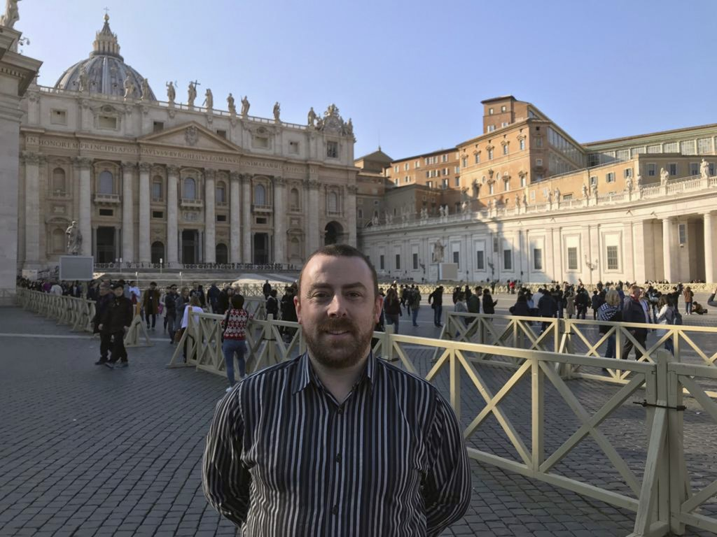 Vincent Doyle, of advocacy group Coping International, poses for a photo during an interview with The Associated Press, in St. Peter's Square at the V...