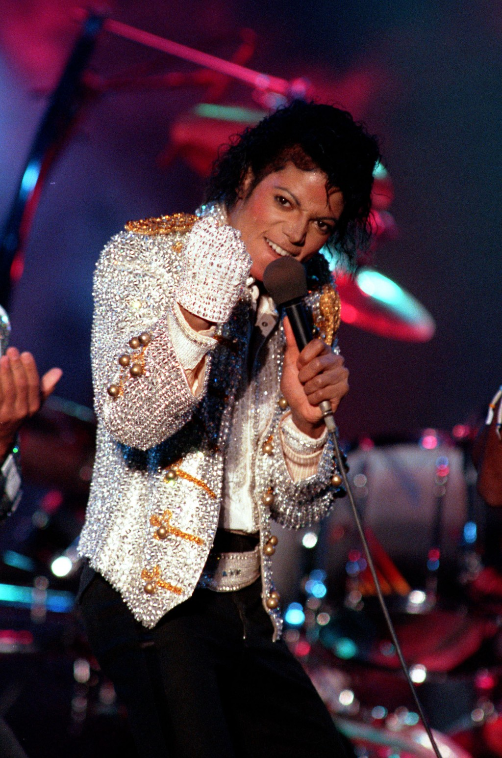 FILE - In this Dec. 3, 1984 photo, Michael Jackson performs with his brothers at Dodger Stadium in Los Angeles, as part of their Victory Tour concert.