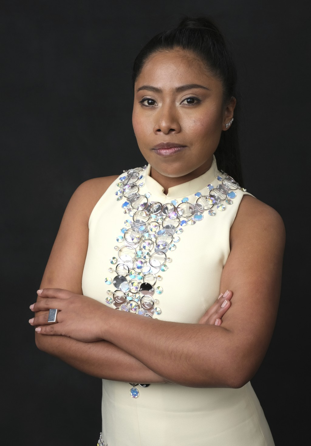 "FILE - In this Feb. 4, 2019 file photo, Yalitza Aparicio, nominated for an Oscar for best actress for her role in ""Roma,"" poses for a portrait at the ..."