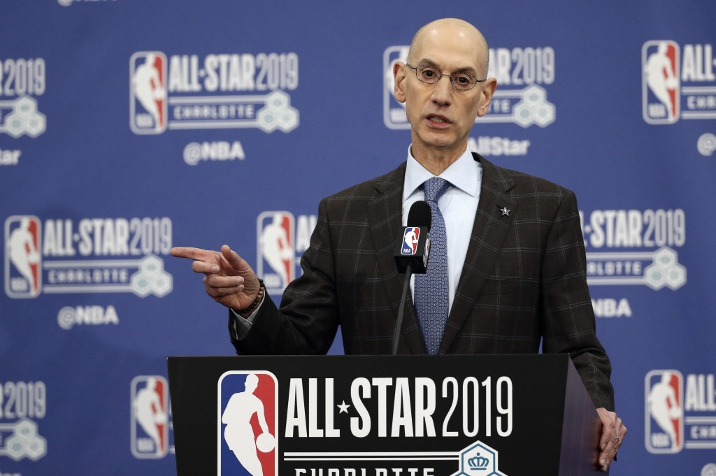 FILE - In this Feb. 16, 2019, file photo, NBA Commissioner Adam Silver speaks during NBA All-Star festivities in Charlotte, N.C. A person with knowled