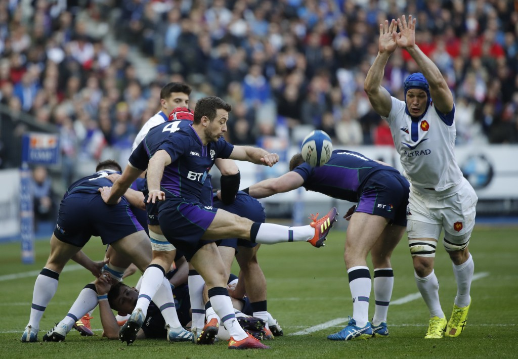 Scotland's Greig Laidlaw clears the ball following a scrum during the Six Nations rugby union international match between France and Scotland at the S