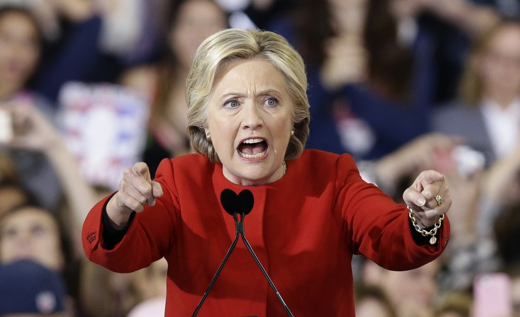 FILE - In this Nov. 8, 2016, file photo, then-Democratic presidential candidate Hillary Clinton speaks during a campaign rally in Raleigh, N.C. (AP Ph