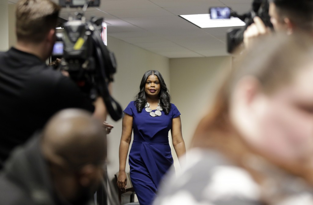Cook County State's Attorney Kim Foxx arrives at a news conference, Friday, Feb. 22, 2019, in Chicago. R. Kelly, the R&B star who has been trailed for