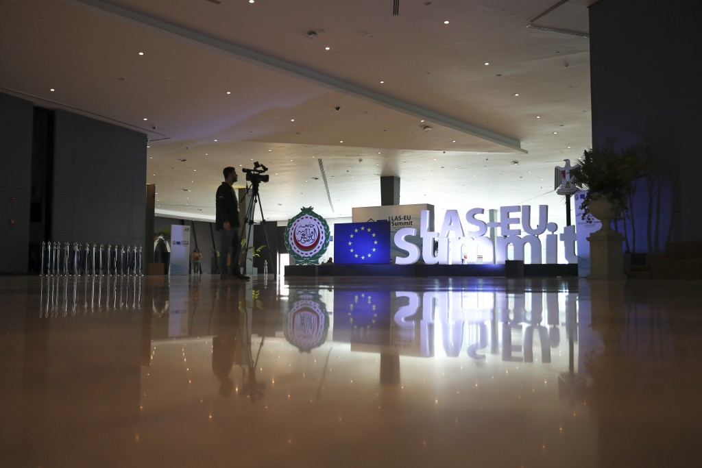 A television cameraman works at the entrance hall of the Sharm El Sheikh convention centre in Sharm El Sheikh, Egypt, Saturday, Feb. 23, 2019. Leaders...