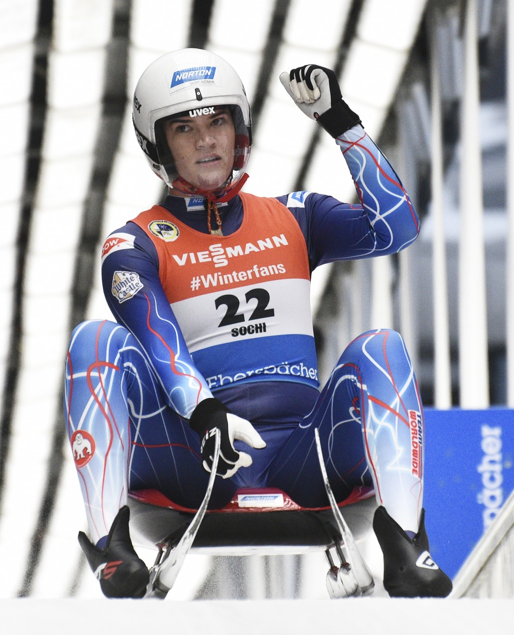 Summer Britcher of the U.S. reacts after finishing in women competition at the Luge World Cup 2018/2019 in Sochi, Russia, Saturday, Feb. 23, 2019. (AP...