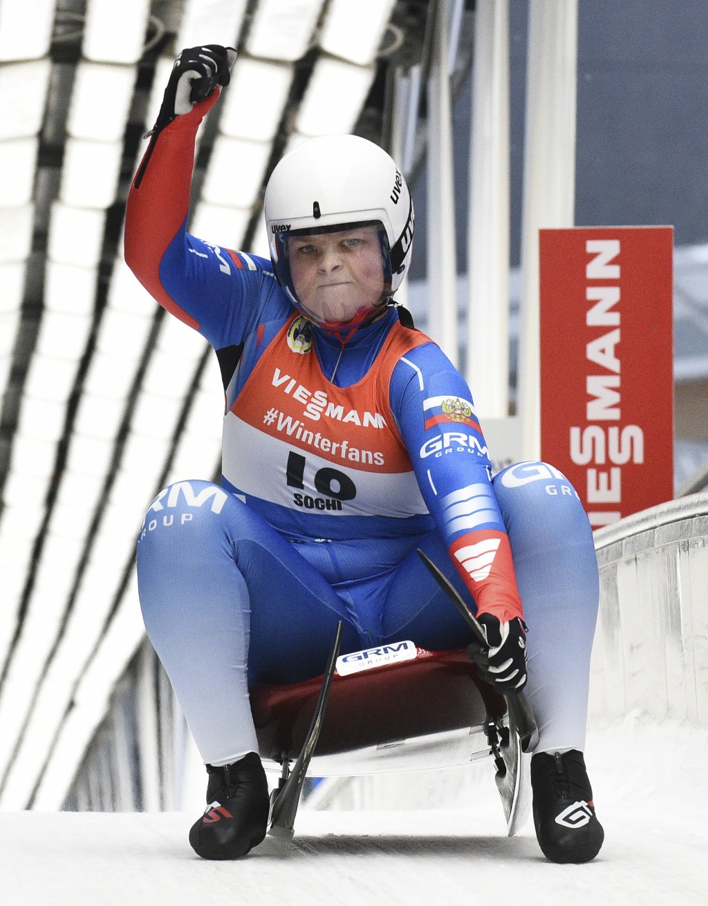 Viktoriia Demchenko of Russia reacts after finishing in women competition at the Luge World Cup 2018/2019 in Sochi, Russia, Saturday, Feb. 23, 2019. (