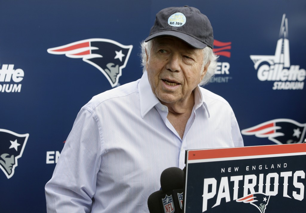 FILE - In this June 7, 2018, file photo, New England Patriots owner Robert Kraft speaks with reporters following an NFL football minicamp practice, in...