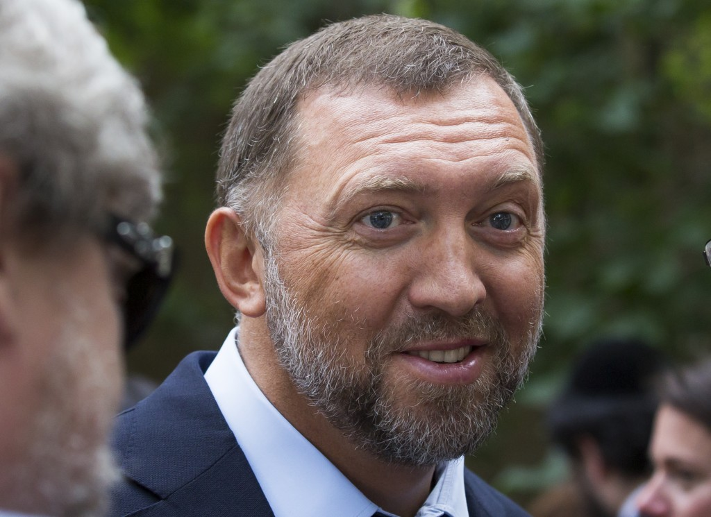 FILE - In this July 2, 2015, file photo, Russian metals magnate Oleg Deripaska attends Independence Day celebrations at Spaso House, the residence of