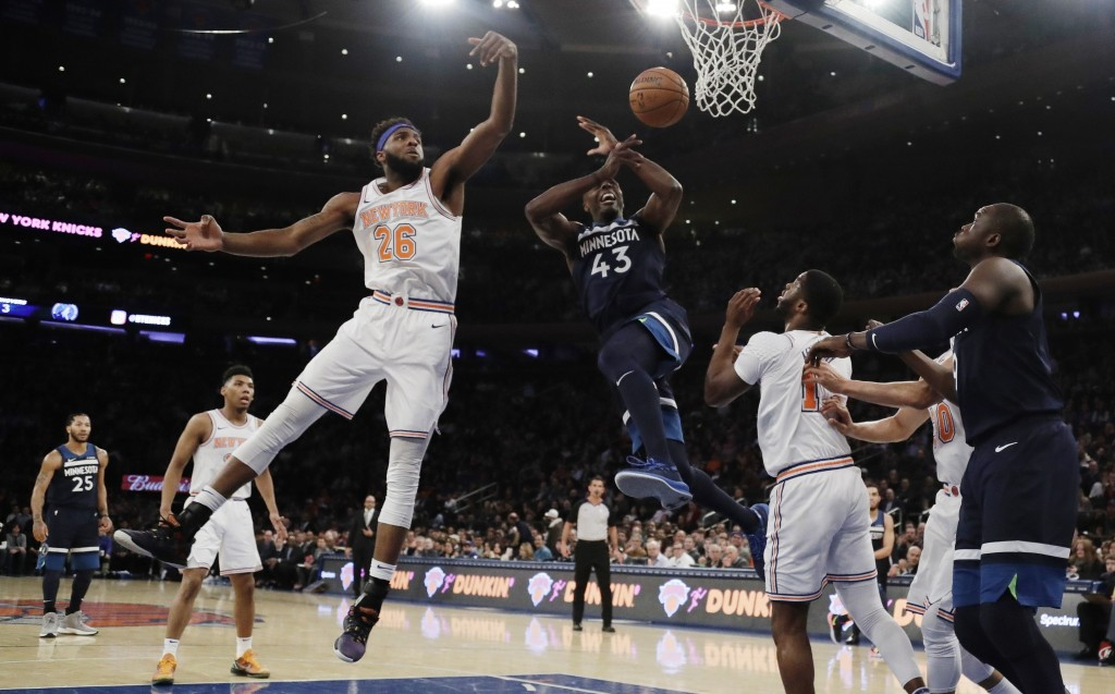 a5ca16f9f0a69c New York Knicks  Mitchell Robinson (26) blocks a shot by Minnesota  Timberwolves