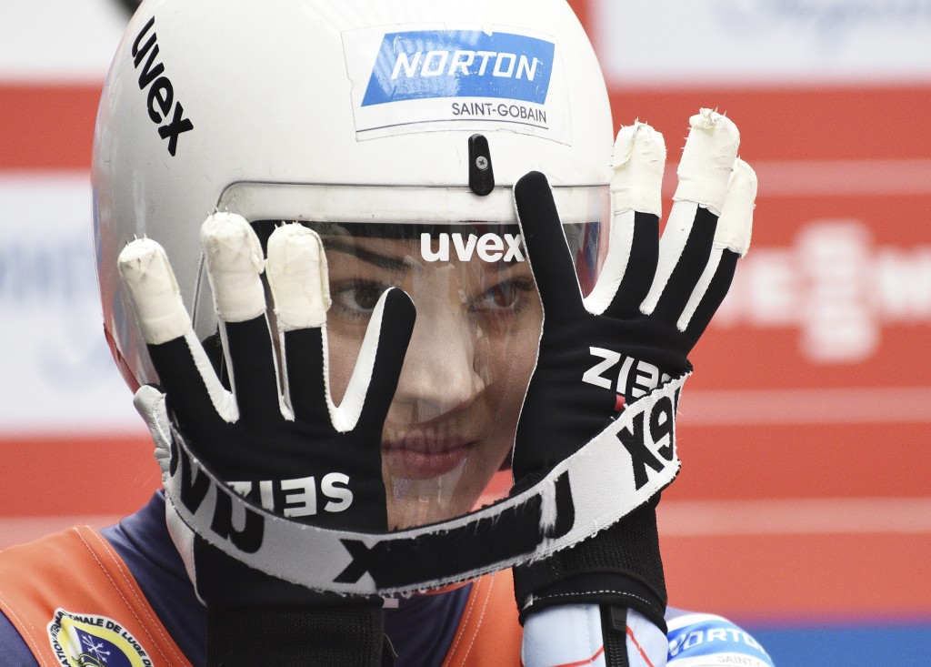 Summer Britcher of the U.S. prepares to compete in women competition at the Luge World Cup 2018/2019 in Sochi, Russia, Saturday, Feb. 23, 2019. (AP Ph