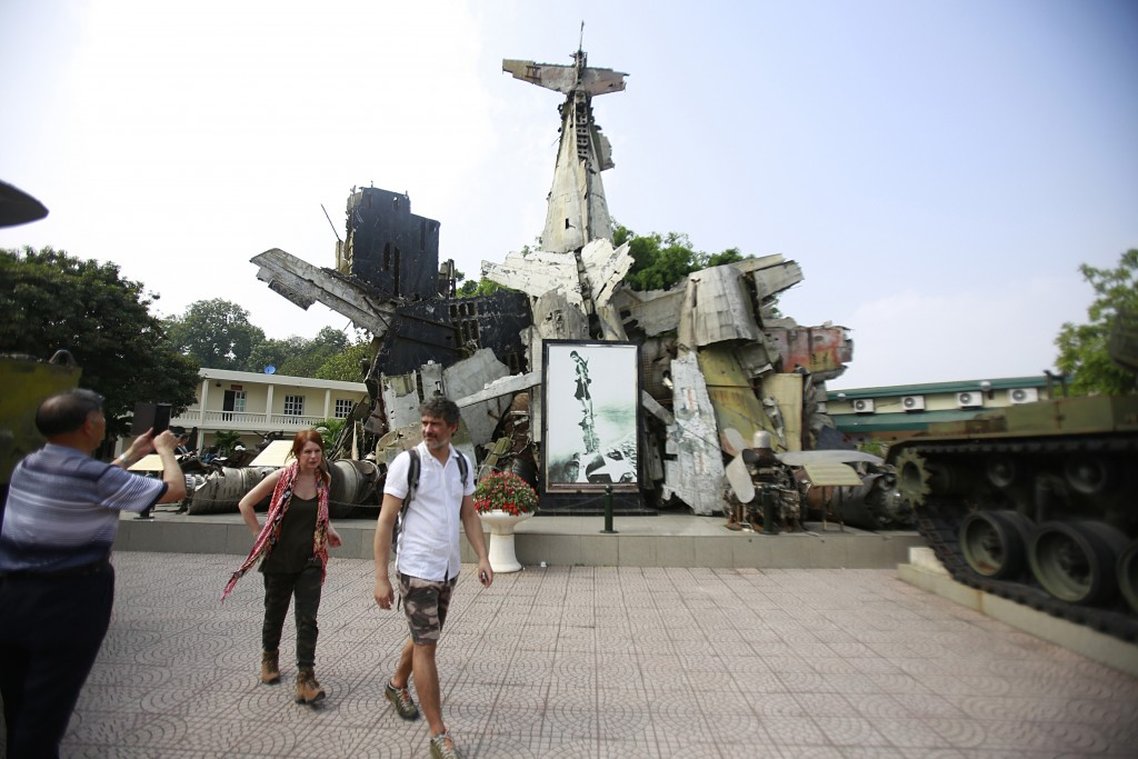 In this Feb. 21, 2019, photo, tourists visit Vietnam Military History Museum in Hanoi, Vietnam. The Vietnamese capital once trembled as waves of Ameri