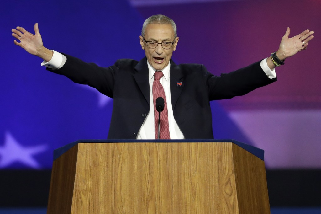 In this Nov. 9, 2016, file photo, John Podesta, campaign chairman, announces that Democratic presidential nominee Hillary Clinton will not be making a