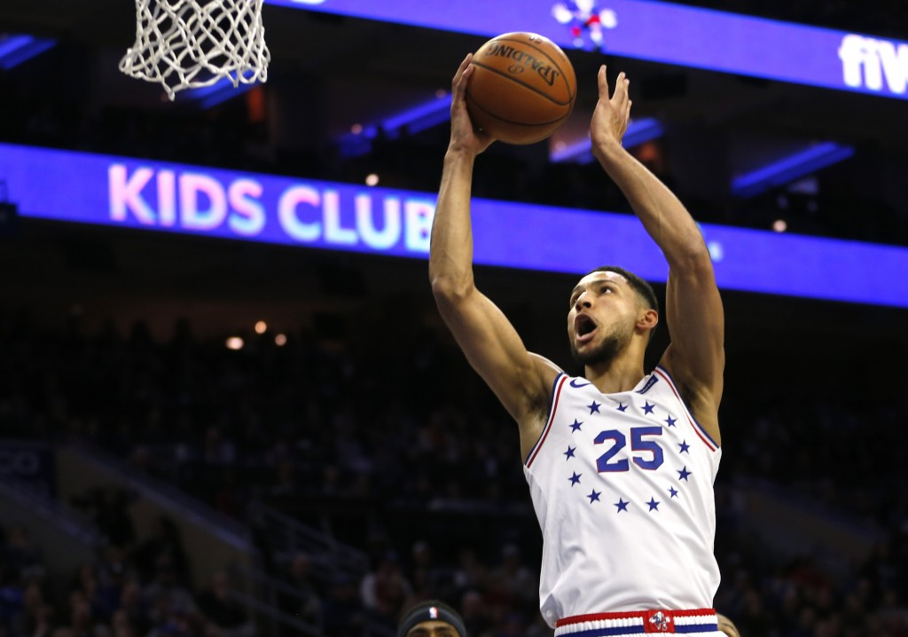 Philadelphia 76ers guard Ben Simmons (25) takes a shot during the first half on an NBA basketball game against the Portland Trail Blazers, Saturday, F...