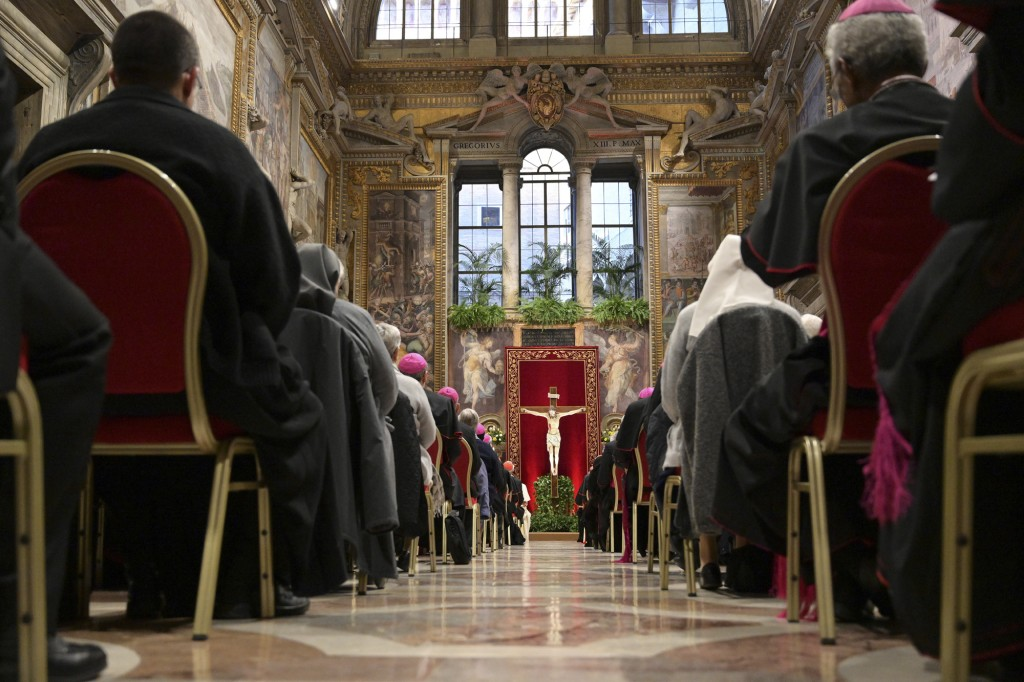 Faithful and prelates gather in the Sala Regia during a penitential liturgy attended by Pope Francis at the Vatican, Saturday, Feb. 23, 2019. The pont...