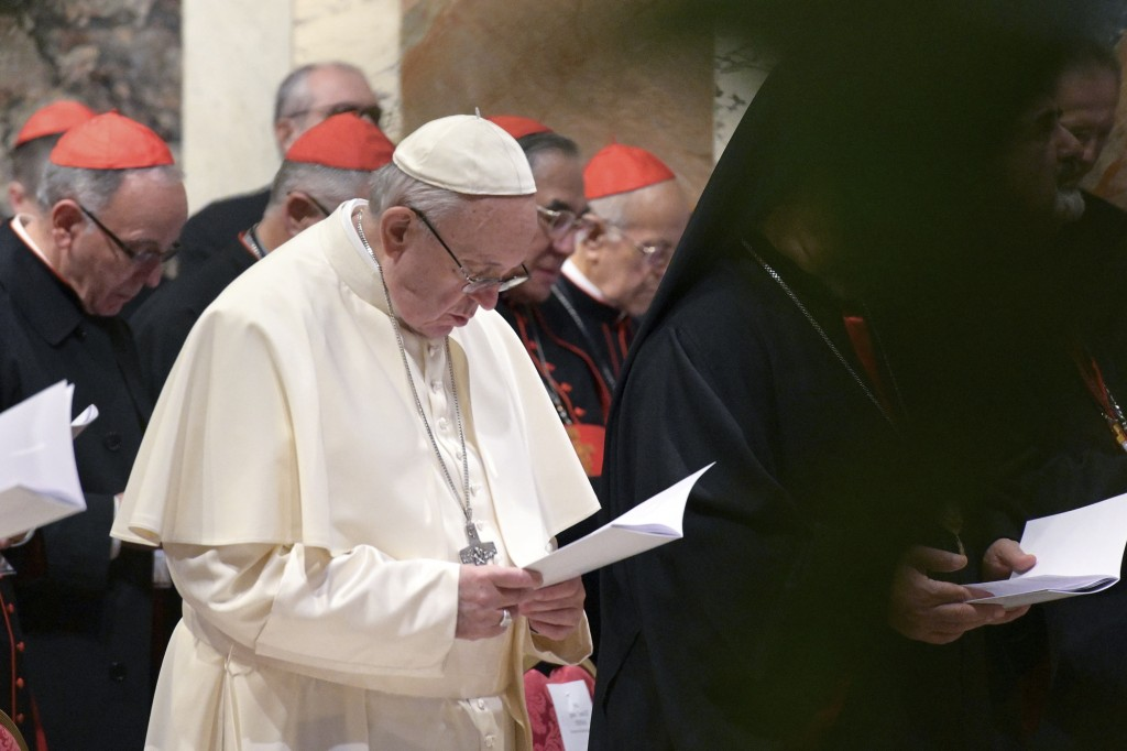 Pope Francis attends a penitential liturgy at the Vatican, Saturday, Feb. 23, 2019. The pontiff is hosting a four-day summit on preventing clergy sexu...