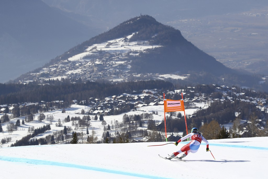 Switzerland's Wendy Holdener speeds down the course during a women's World Cup combined, in Crans Montana, Switzerland, Sunday, Feb. 23, 2019. (AP Pho...