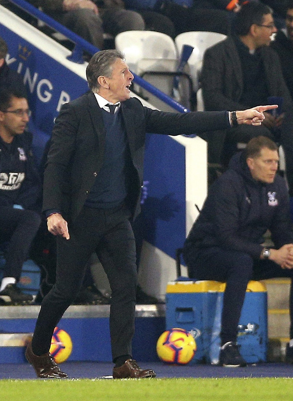 Leicester City manager Claude Puel gestures on the touchline during the match against Crystal Palace during their English Premier League soccer match ...