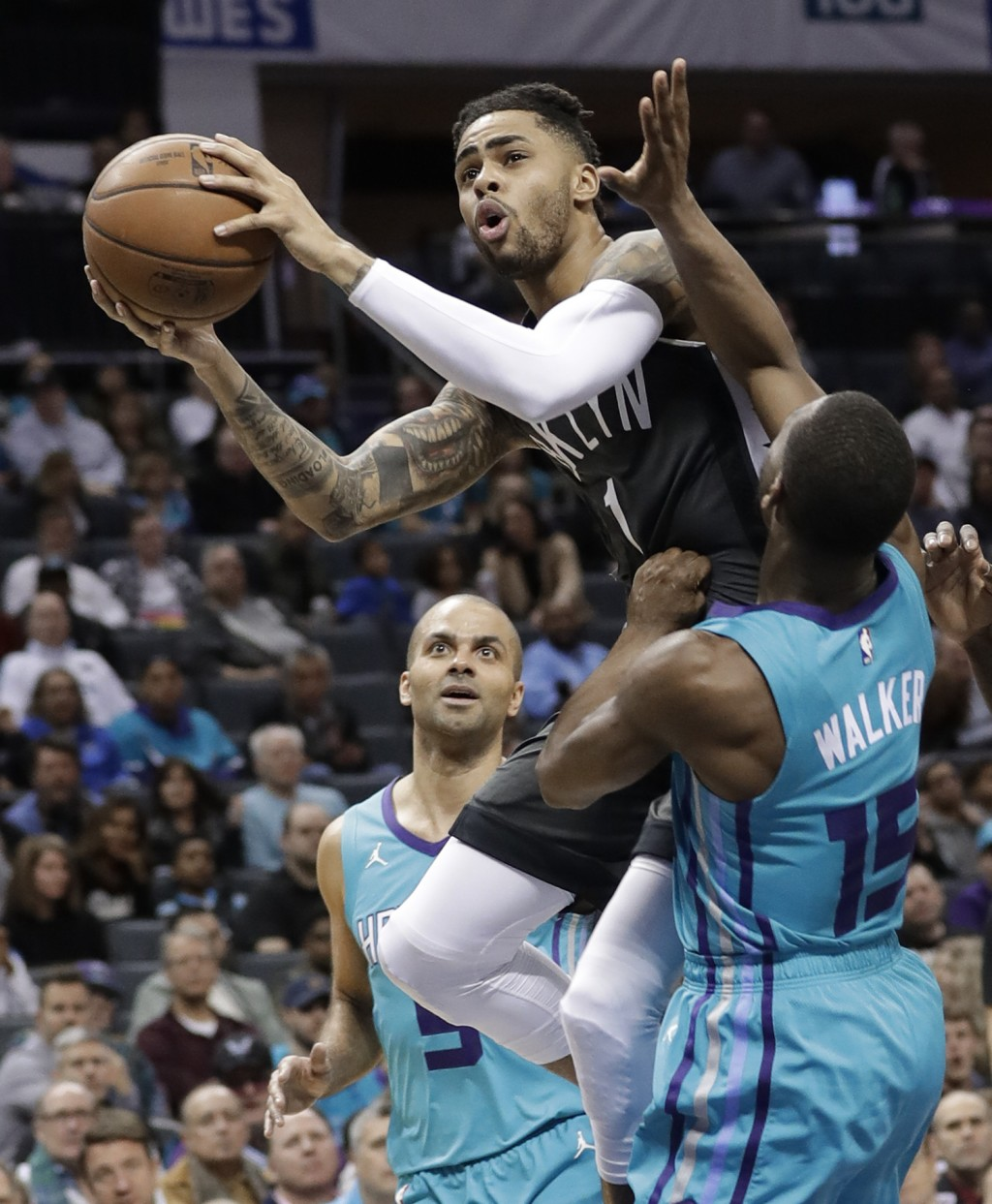 Brooklyn Nets' D'Angelo Russell (1) drives against Charlotte Hornets' Kemba Walker (15) during the first half of an NBA basketball game in Charlotte,