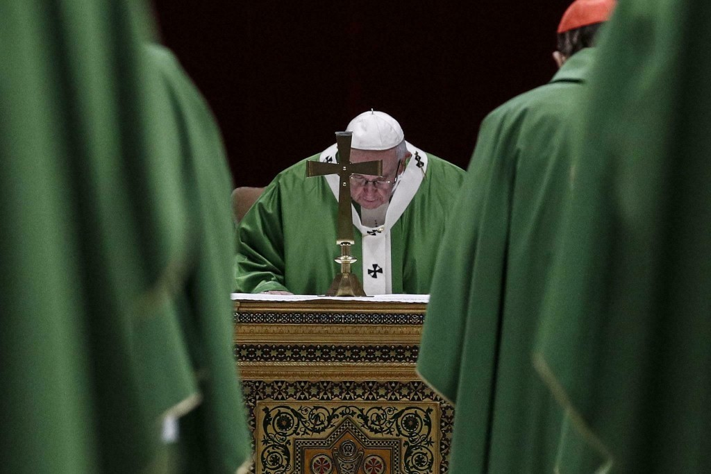 Pope Francis celebrates Mass at the Vatican, Sunday, Feb. 24, 2019. Pope Francis celebrated a final Mass to conclude his extraordinary summit of Catho...