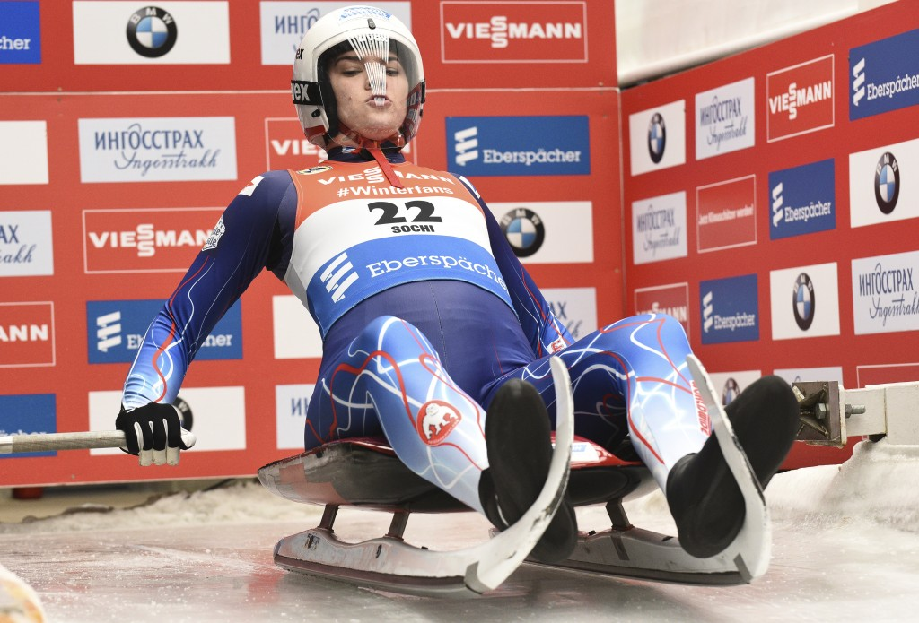 Summer Britcher of the U.S. prepares to compete in women competition at the Luge World Cup 2018/2019 in Sochi, Russia, Saturday, Feb. 23, 2019. (AP Ph...