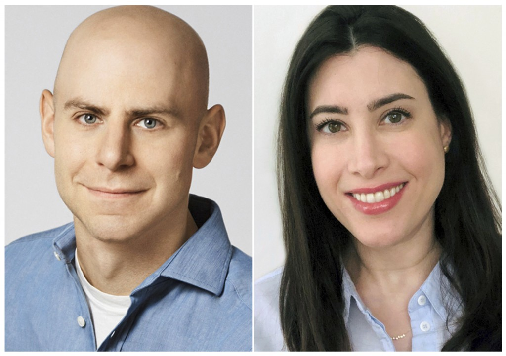 This combination of images released by Dial Books for Young Readers shows Psychologist and best-selling author Adam Grant, left, and his wife Allison