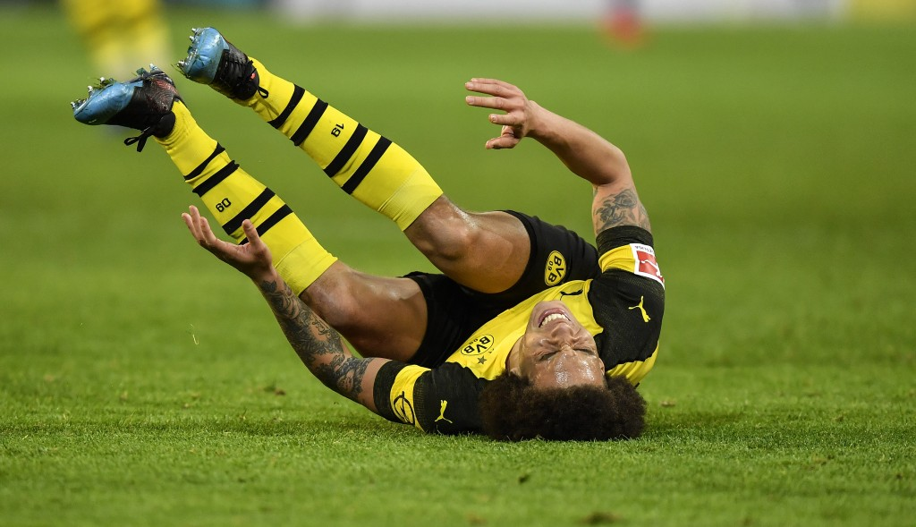 Dortmund's Axel Witsel reacts during the German Bundesliga soccer match between Borussia Dortmund and Bayer Leverkusen in Dortmund, Germany, Sunday, F...