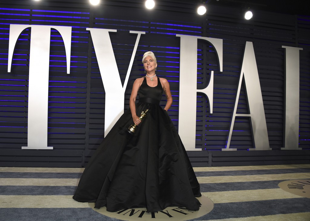 """Lady Gaga, winner of the award for best song """"Shallow,"""" arrives at the Vanity Fair Oscar Party on Sunday, Feb. 24, 2019, in Beverly Hills, Calif. (Pho"""